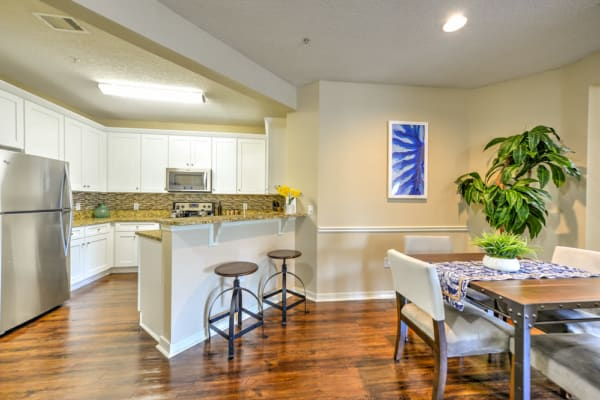 Modern kitchen and dining area at Ocean Park of Ponte Vedra in Jacksonville Beach, Florida