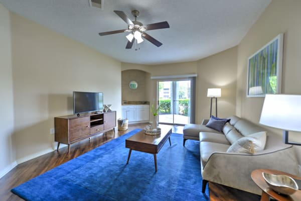 Bright, well decorated living room at Ocean Park of Ponte Vedra in Jacksonville Beach, Florida
