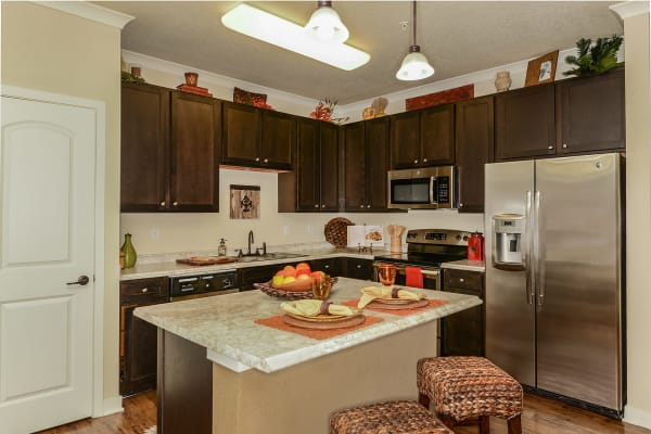 Modern kitchen and dining area at Hacienda Club in Jacksonville, Florida