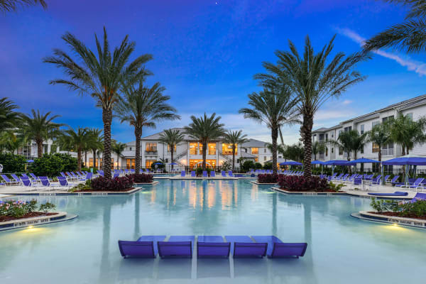 Sparkling swimming pool at Palm Bay Club in Jacksonville, Florida