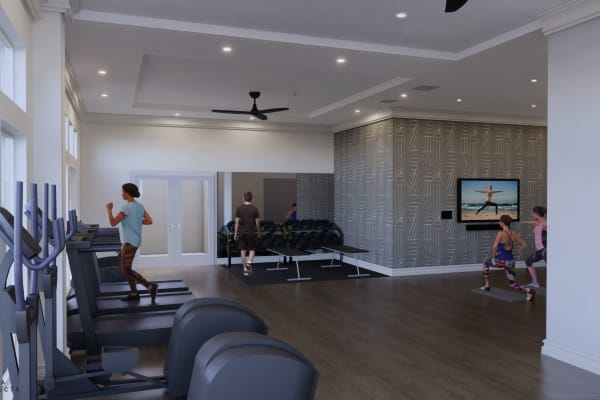 Workout room at Rienzi at Turtle Creek Apartments in Dallas, Texas
