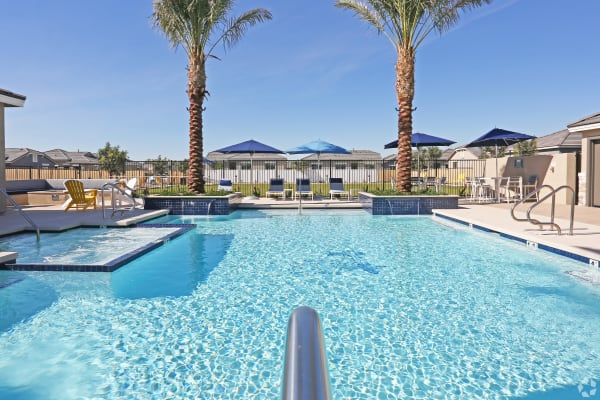 Heated community pool and spa at Christopher Todd Communities On Mountain View in Surprise, Arizona