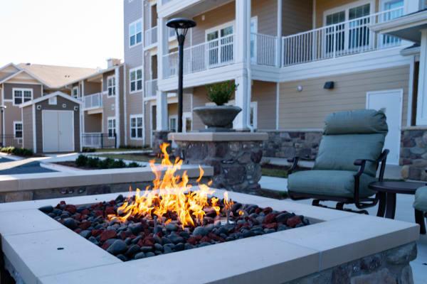 Fireside seating at Hessler Heights Gracious Retirement Living in Leesburg, Virginia