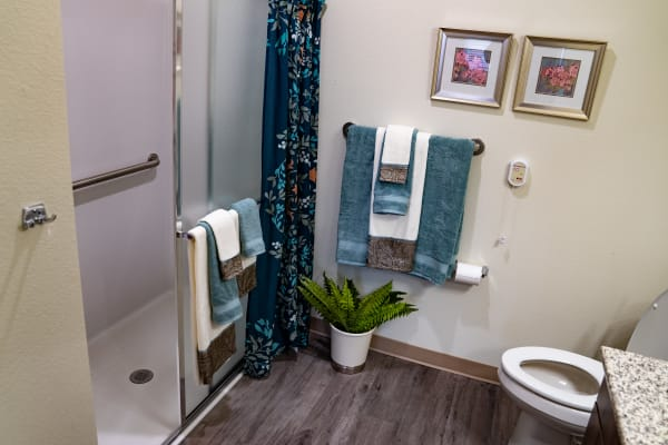 A bathroom at Kennedy Meadows Gracious Retirement Living in North Billerica, Massachusetts