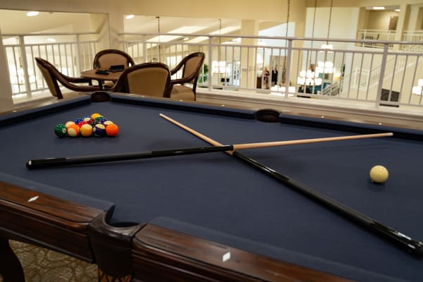 Billiards table at Kennedy Meadows Gracious Retirement Living in North Billerica, Massachusetts