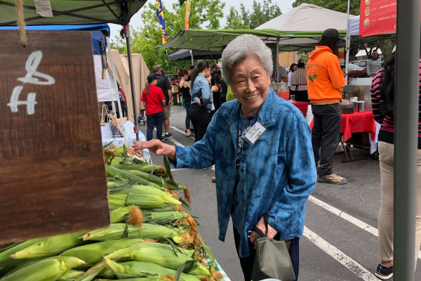 A resident at a market near Nikkei Manor in Seattle, Washington