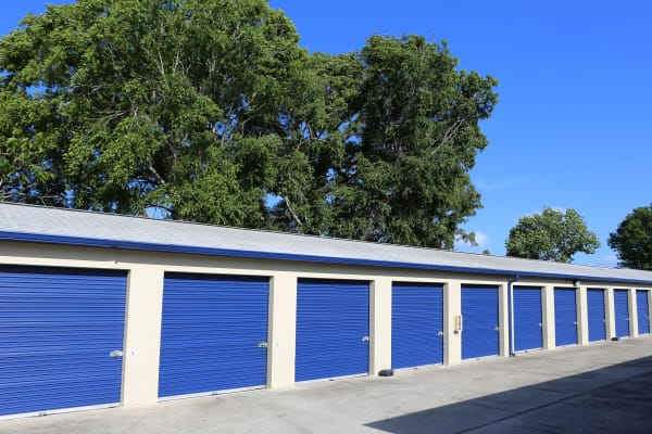 Storage units with purple doors at Midgard Self Storage in Springfield, Tennessee