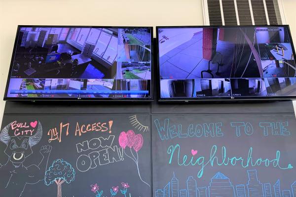 Monitors for video surveillance at My Neighborhood Storage Center in Durham, North Carolina