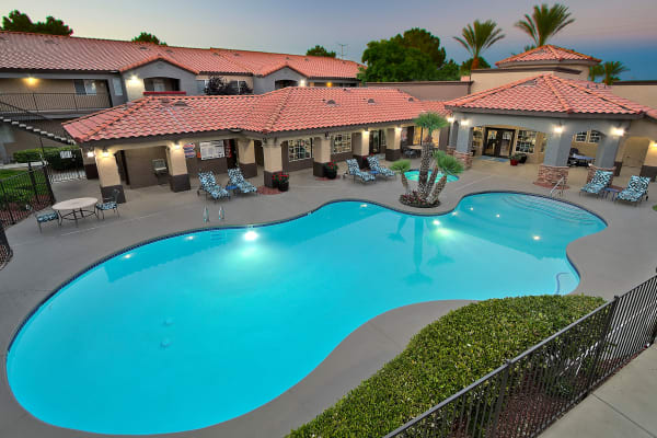 Beautiful swimming pool at Mariner at South Shores in Las Vegas, Nevada