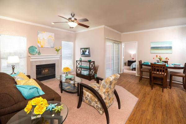 Living room layout with hardwood floors at Rancho Palisades