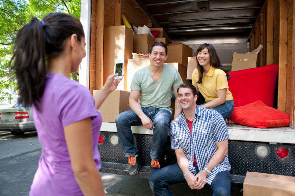 Family using a moving truck from Midgard Self Storage in Eastanollee, Georgia