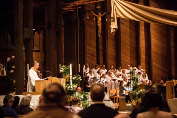Residents from Deephaven Woods in a church session in Deephaven, Minnesota