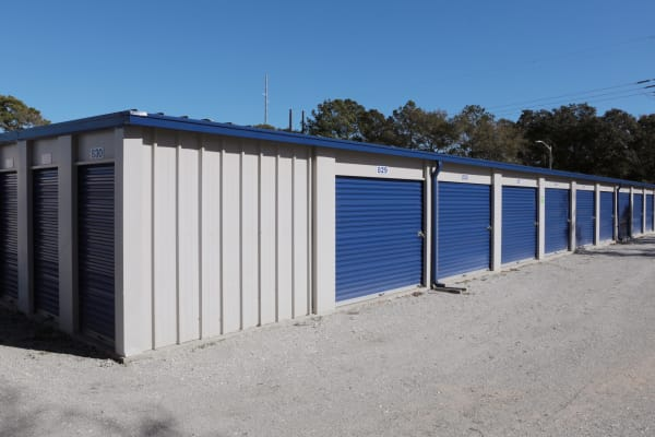Storage units with blue doors at Midgard Self Storage in Murrells Inlet, South Carolina