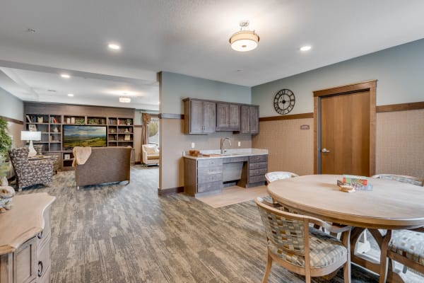 Reception area room with small kitchen at The Fields at Arbor Glen in Lake Elmo, Minnesota