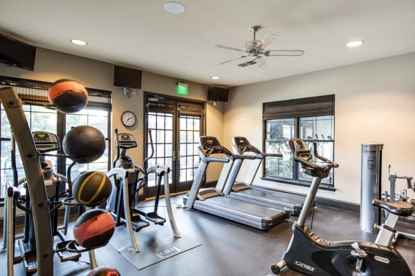 Fully equipped fitness center at McBee Station in Greenville, South Carolina
