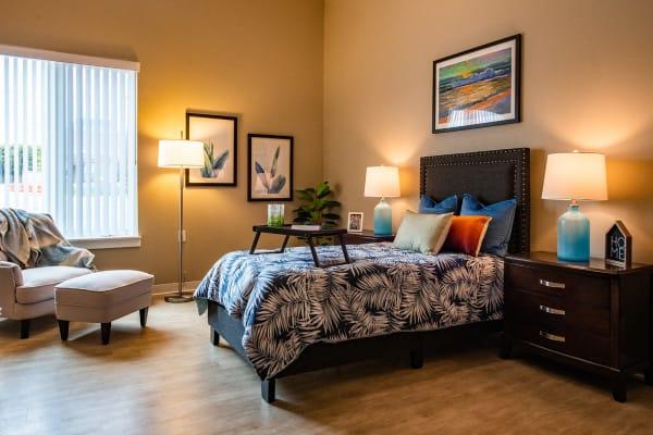 Bedroom at Seasons Memory Care at Rolling Hills in Torrance, California
