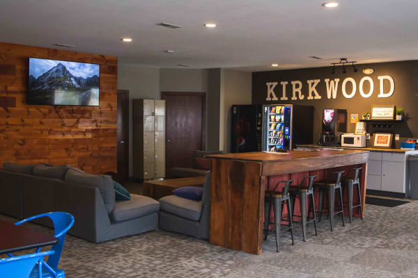 Photos on the wall in the clubhouse at Campus View & Kirkwood Court in Cedar Rapids, Iowa