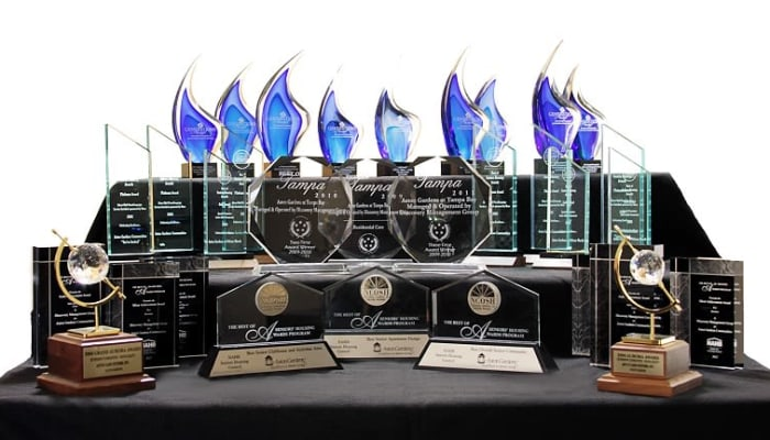 A picture of trophies and awards at Discovery Senior Living in Bonita Springs, Florida