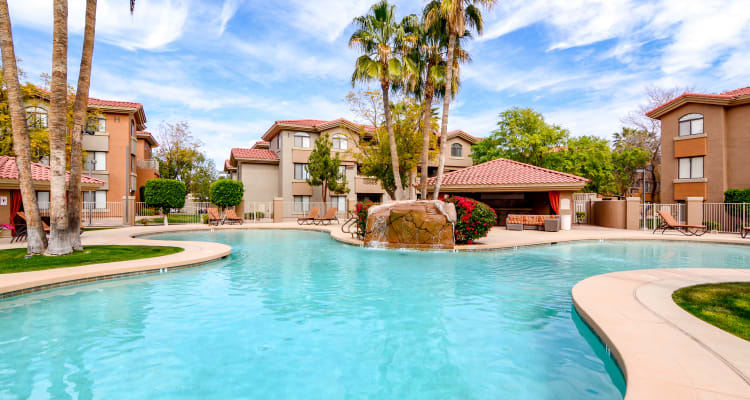 Beautiful poolside at The Palms on Scottsdale in Tempe, Arizona