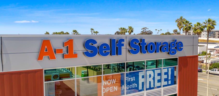 Front sign on our building at A-1 Self Storage in National City, California