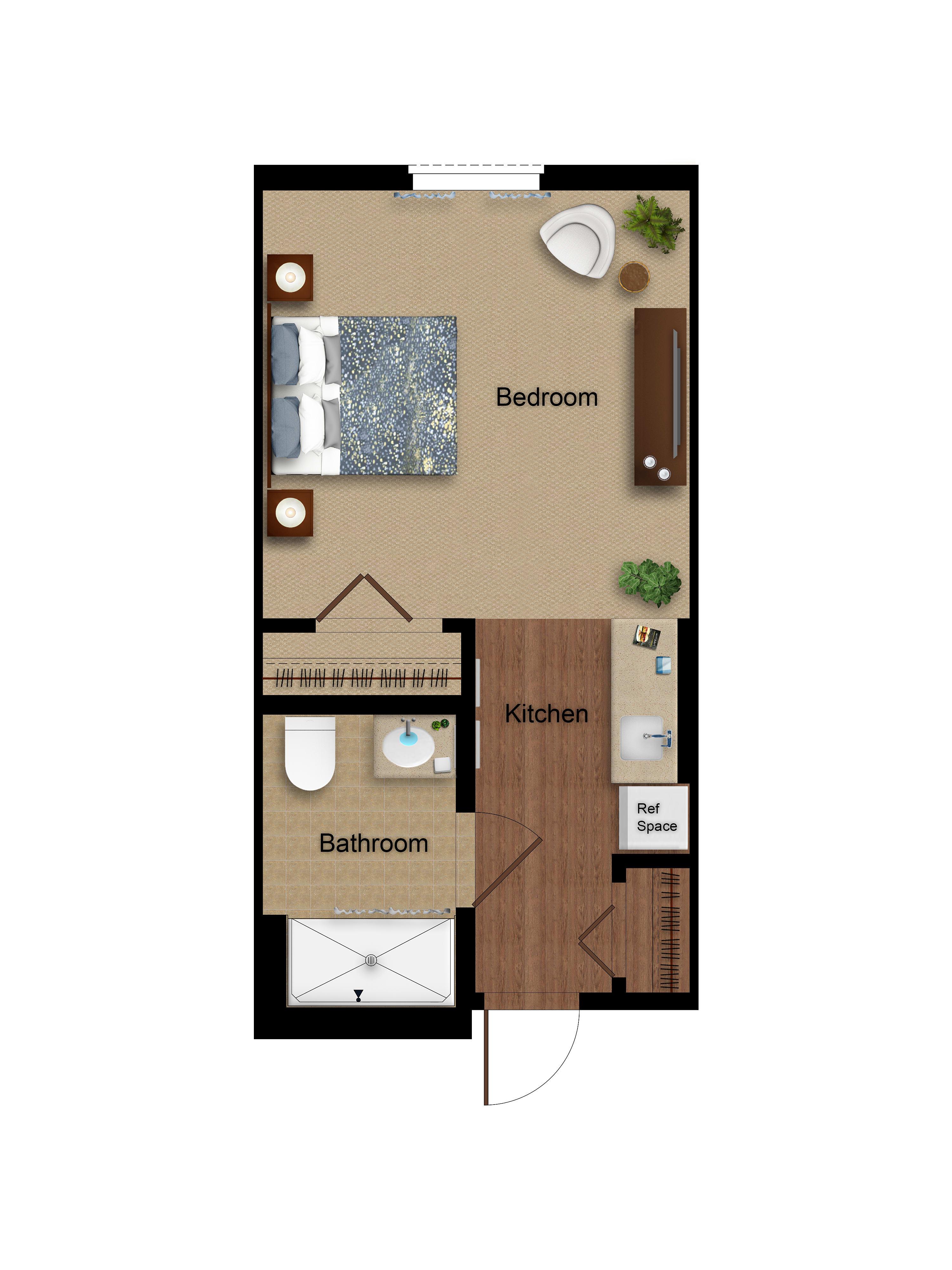 Studio floor plan at Sage Glendale in Glendale, California