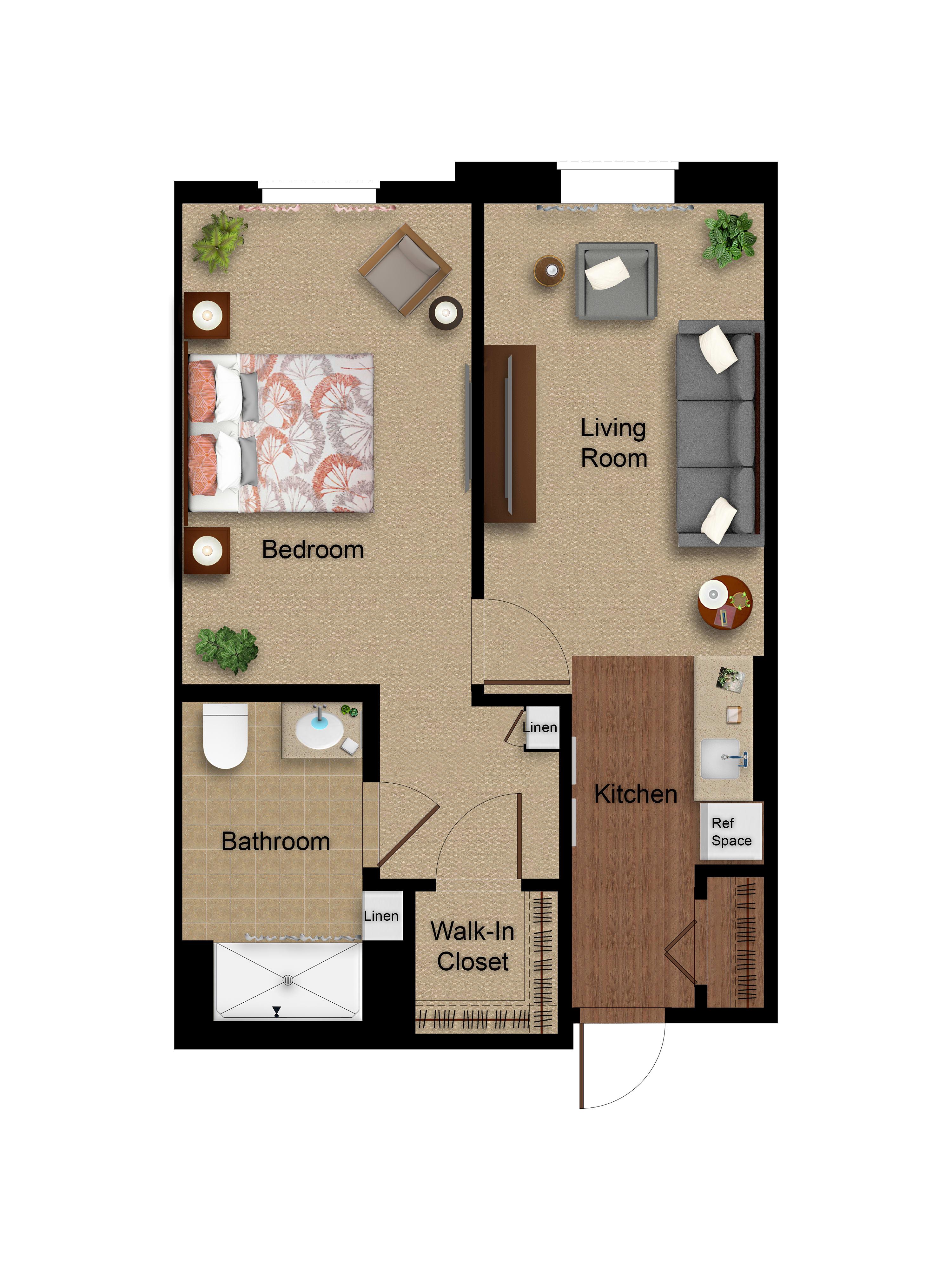 One Bedroom floor plan at Sage Glendale in Glendale, California