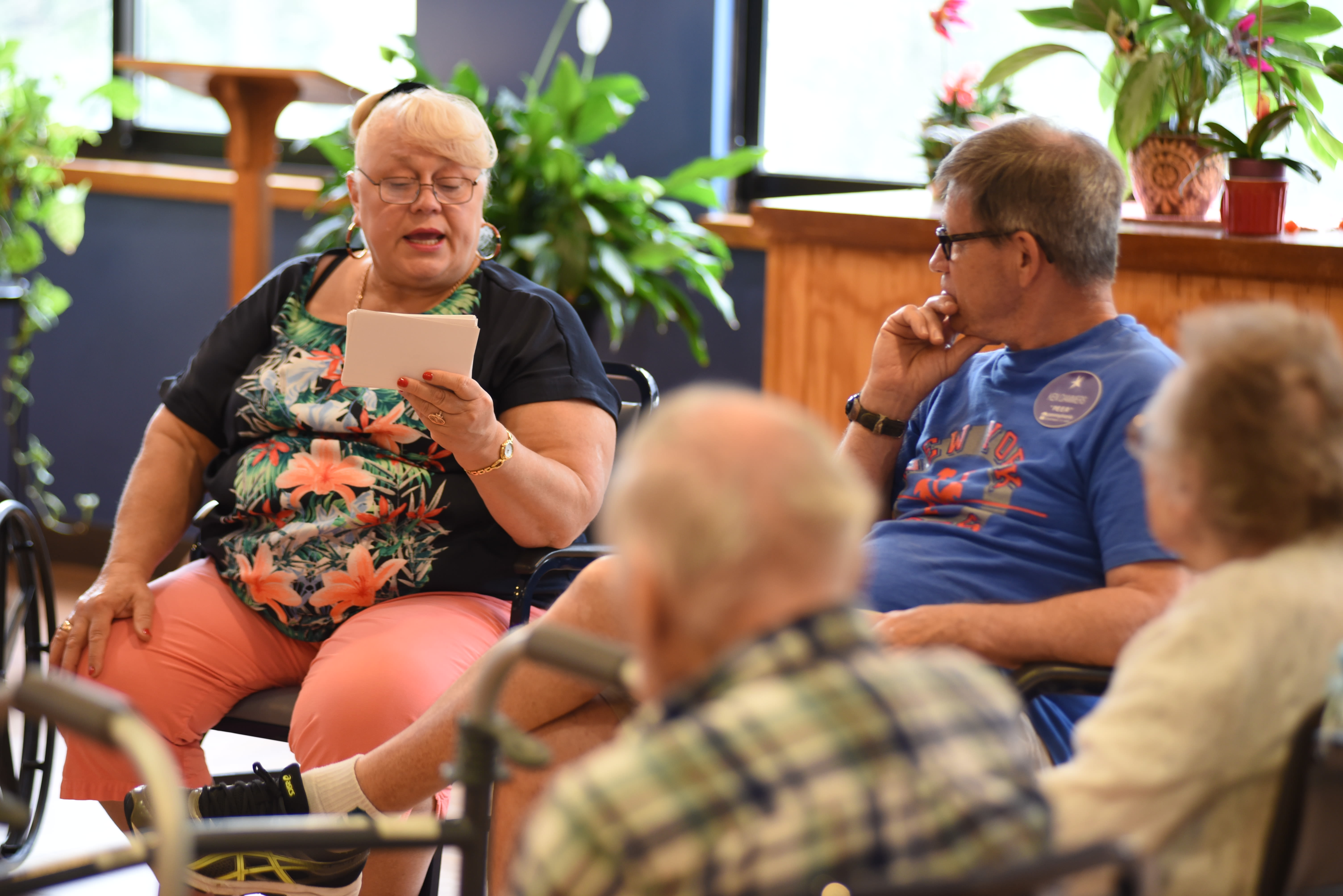 Residents hanging out together at the bar at Belle Reve Senior Living in Milford, Pennsylvania