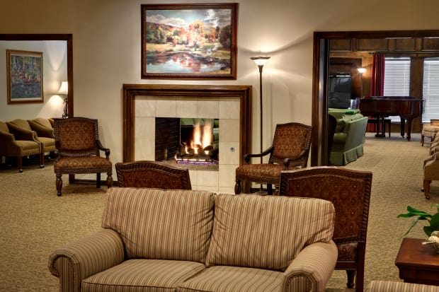 Fireplace at Country Club At Woodland Hills in Tulsa