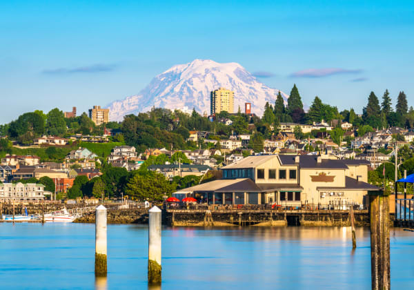 View of the mountains from Copperline at Point Ruston in Tacoma, Washington