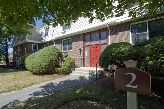 Frontal view of Talbot Woods Apartments in Middleboro, MA