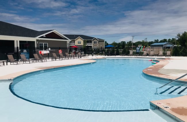 Sparkling swimming pool on a sunny day at Bonterra Apartments in Fort Wayne, Indiana