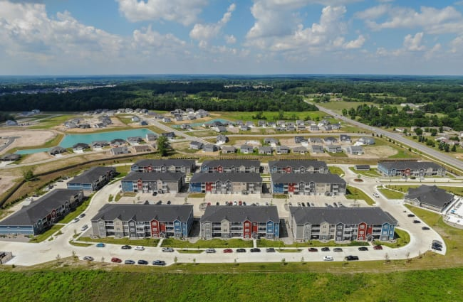 Aerial view of our luxury community at Bonterra Apartments in Fort Wayne, Indiana