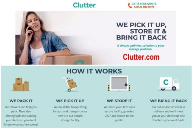 Clutter.com advertising from Yellow Door Storage in Argyle, Texas