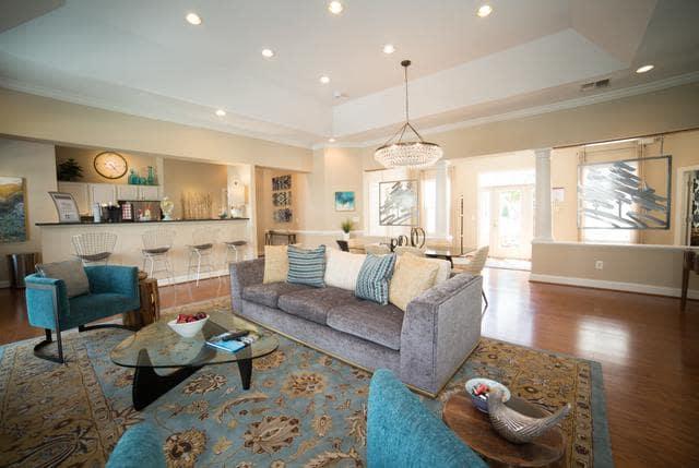 Spacious living room at Riverside Manor in Fredericksburg, VA