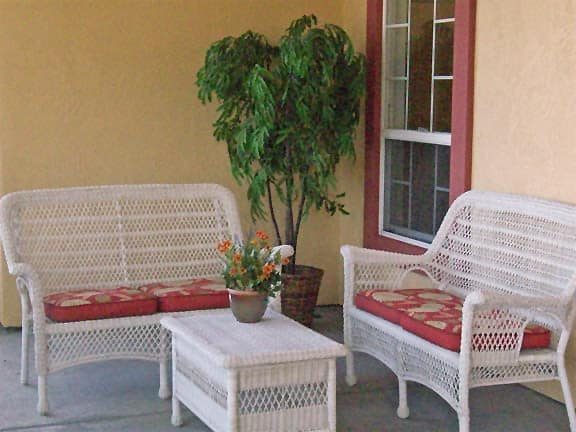 Seating area outside of apartment at MuirWoods Memory Care in Petaluma