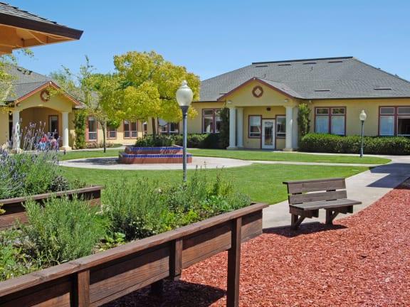 Courtyard area at MuirWoods Memory Care in Petaluma