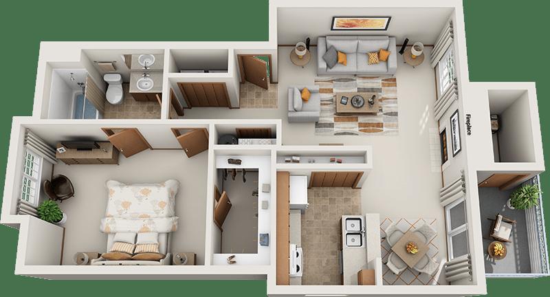 Arbor Square Apartments Jefferson 1 Bedroom Floor Plan
