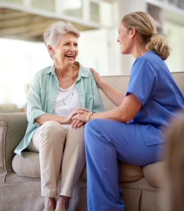 Nurse with resident at West Chester Assisted Living and Memory Care in West Chester, Ohio