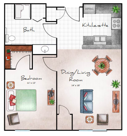 One Bedroom, 720 SF NET floor plan