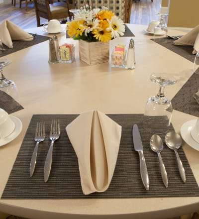 Tableset in the dining room at Keystone Place at Forevergreen in North Liberty, Iowa