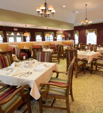 Tableset in the dining room at The Keystones of Cedar Rapids in Cedar Rapids, Iowa