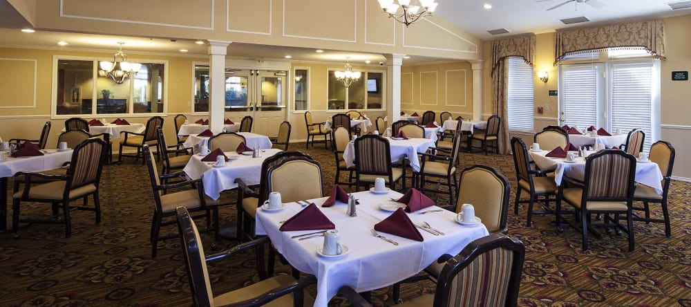 Large, open dining spaces at Waltonwood Carriage Park