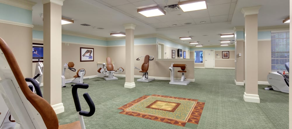 Fitness center for residents of Waltonwood Cary Parkway