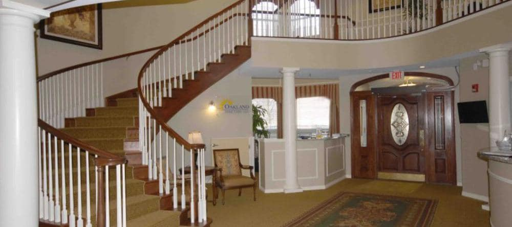 Luxury staircase at Waltonwood Royal Oak in Royal Oak, MI