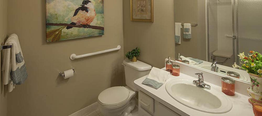 Apartment Bathroom at Waltonwood Cherry Hill in Canton, MI
