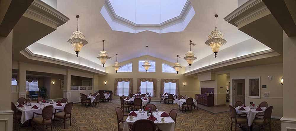 Dining hall at Waltonwood Cherry Hill in Canton, MI