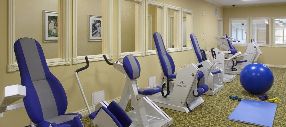 Exercise equipment at Waltonwood Lakeside in Sterling Heights, MI