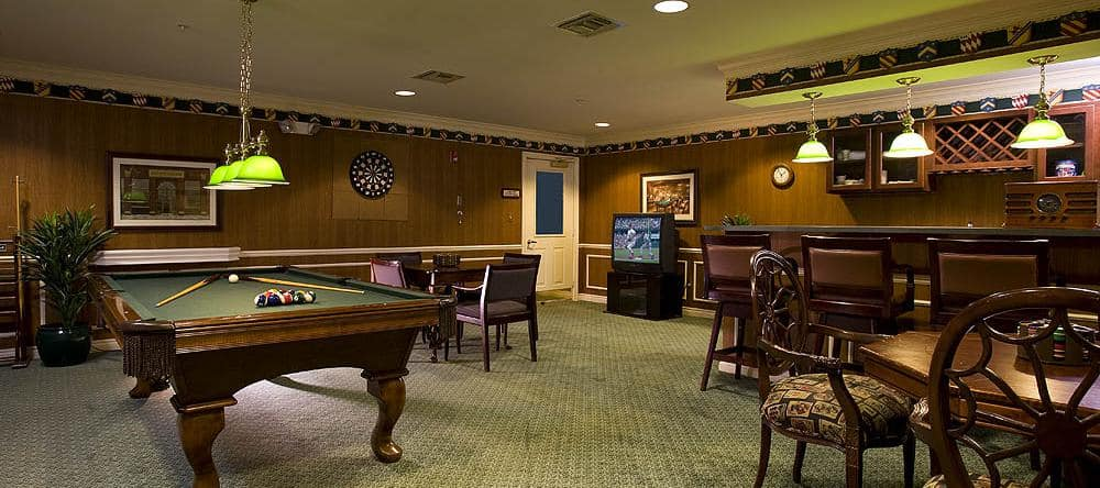 Game room at Waltonwood Twelve Oaks in Novi, MI