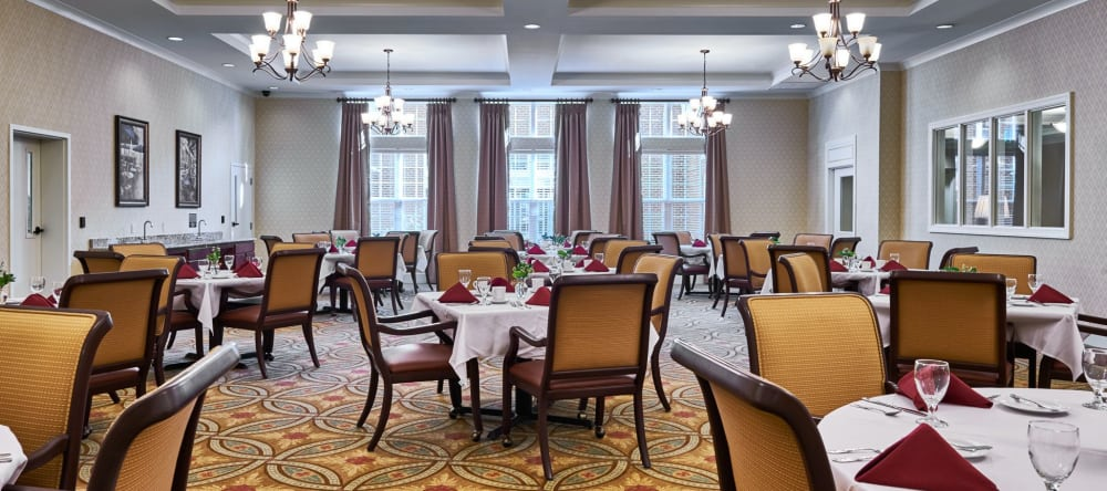 Large open dining spaces at Waltonwood Providence