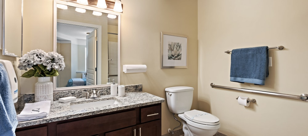 Unit bathroom at Waltonwood Royal Oak in Royal Oak, MI